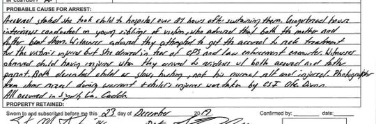 Pictured is the probable cause for arrest on the second page of Jessica Fisher's arrest report charging her with attempted-first degree murder.