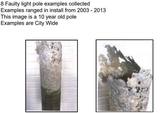 The city of Sioux Falls will no longer bury light poles in the ground after it was discovered that ground soils were corroding the bases.