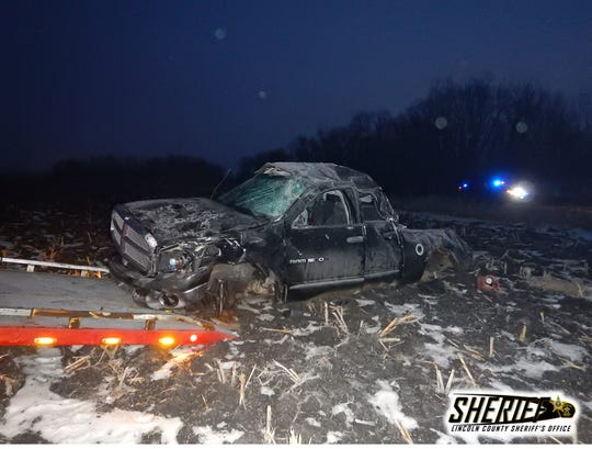 Pictured is what's left of a Dodge Ram pickup after it was involved in a rollover crash two miles Monday, Dec. 23, 2019, south of Canton, South Dakota. The Lincoln County Sheriff's Office and Canton Police Department are looking for the driver involved in the crash.