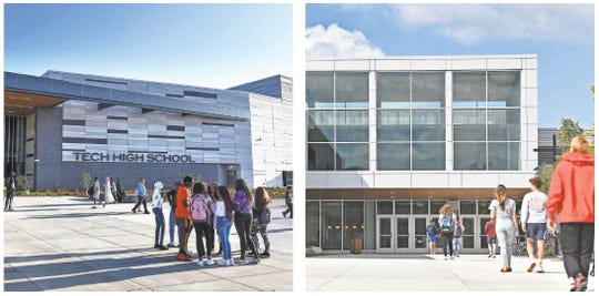 Students enter the new Tech High School and the new Sartell High School for the first time on Tuesday, September 3, 2019.