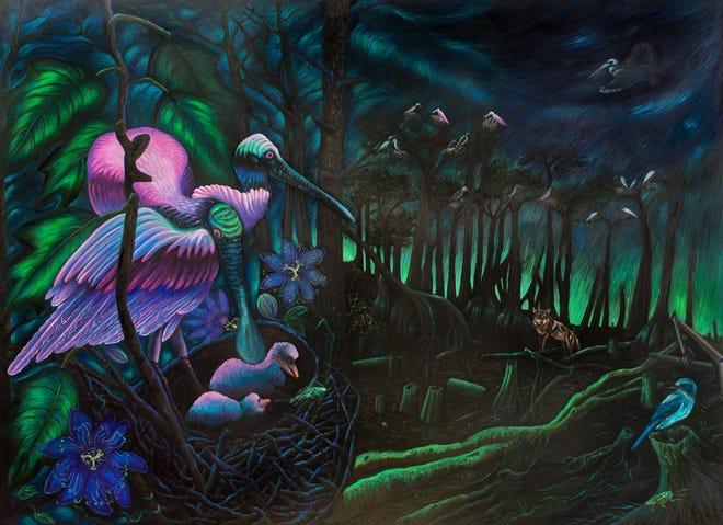 Alexa Kleinbard, Nesting on the Precipice, 2018-2019, oil paint on birchoil on wood, 60 x 48 inches