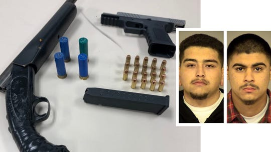 Jacob Oseguera, left, and Jorge Nunez are shown with the guns and ammunition seized.