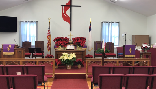 The sanctuary at Mount Pleasant United Methodist Church previously was its fellowship hall, but an April 2016 fire that destroyed the original sanctuary forced it into a new use.