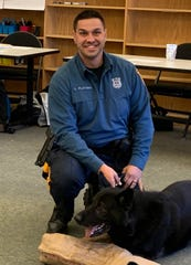 Fifth-grade students at the Applied Math & Science Academy at Johnstone who were certified in digital wellness and safety, were treated to a presentation by Agir, a K-9 handled by Vineland Police Officer Louis Platania.