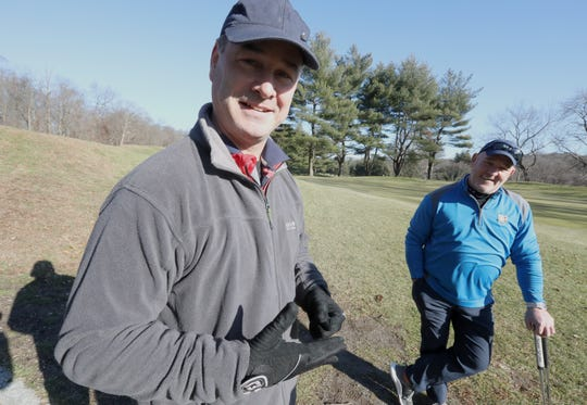 Denis Sullivan and Kieran Traynor, both of Yonkers, golf at Maple Moor golf course in White Plains Dec. 24, 2019.