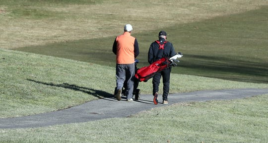 Bill Marshall of Scarsdale, left, and Jim Gilland of Fleetwood golf at Maple Moor golf course in White Plains Dec. 24, 2019.