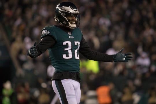 Dec. 23, 2019: Eagles' Rasul Douglas (32) celebrates a defensive stop against the Cowboys.