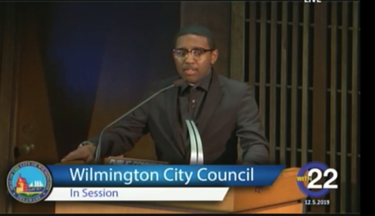 Jakai White, 15, speaks before Wilmington City Council to ask officials to deal with the city's gun violence on Dec. 5, 2019