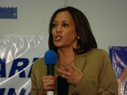 Kamala Harris speaks at an event in Iowa.