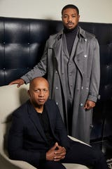 """This Dec. 16, 2019 photo shows civil rights attorney Bryan Stevenson, left, and actor Michael B. Jordan posing for a portrait in New York to promote the film """"Just Mercy.""""  (Photo by Matt Licari/Invision/AP)"""
