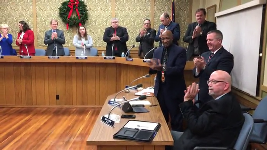 Zanesville City Council passed a resolution recognizing Mayor Jeff Tilton's service after a speech was read and he received a standing ovation.