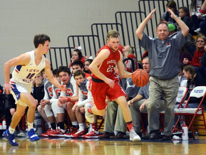 Landen Russell races up court during the first half of visiting Sheridan's 72-50 win against Licking Valley on Monday night in Hanover. Russell was one of four Generals to reach double figures in scoring.