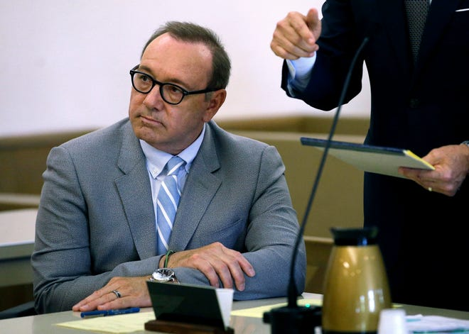 Kevin Spacey in court on June 3, 2019, in Nantucket, Mass. Prosecutors dropped a criminal case against Spacey where it was alleged he groped an 18-year-old man at a Nantucket bar in 2016, after the accuser invoked his Fifth Amendment right not to testify.