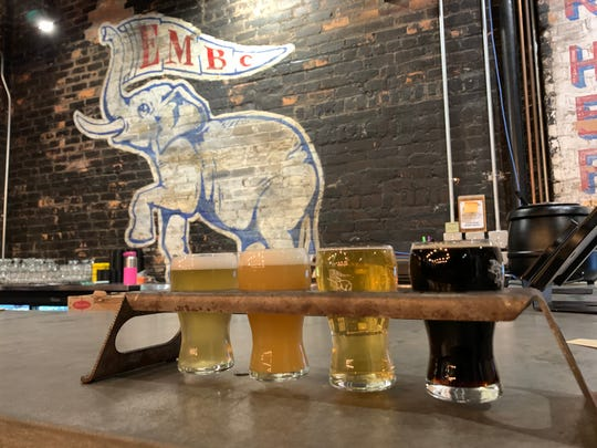 A beer flight at Eastern Market Brewing Co. in Detroit.