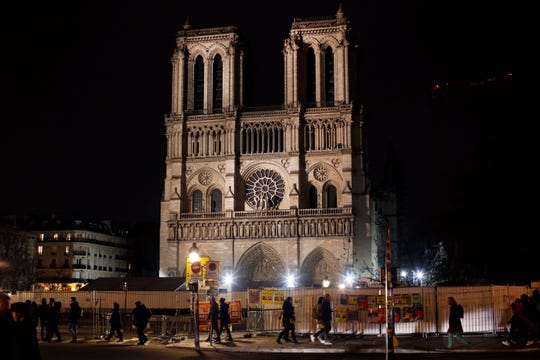 Notre Dame cathedral in Paris on Tuesday. The cathedral is unable to host Christmas services for the first time since the French Revolution, because the Paris landmark was too deeply damaged by this year's fire.