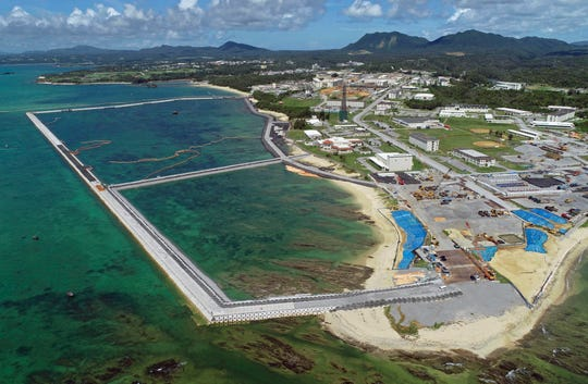 Preliminary construction work off Henoko, in Nago city, Okinawa prefecture, Japan, in Aug. 2018.