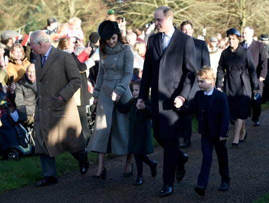 Britain's Prince Charles, Kate, Duchess of Cambridge, Prince William and their children Prince George, right, and Princess Charlotte arrive to attend the Christmas Day morning church service at St. Mary Magdalene Church in Sandringham, Norfolk, England, Wednesday, Dec. 25, 2019.