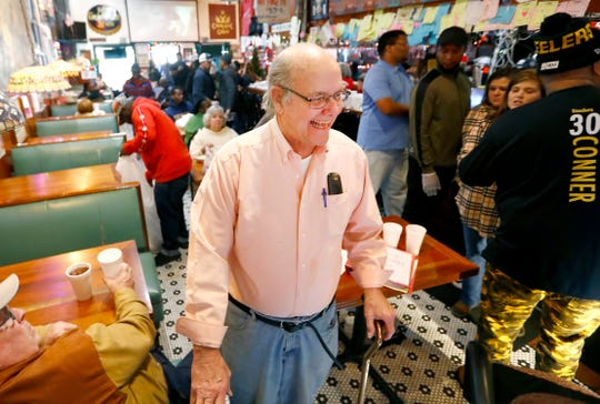 Jake Schorr, 78, the owner of Westy's downtown, where they have been serving free holiday meals to those in need since 2003, on Christmas Day Wednesday, Dec. 25, 2019.