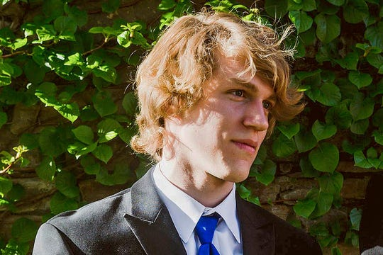 FILE - This undated file photo provided by Matthew Westmoreland shows Riley Howell. The North Carolina college student hailed by police as a hero for preventing more injuries and deaths after a gunman opened fire in a classroom in April 2019 has been immortalized as a Jedi by the production company for the Star Wars franchise. (Matthew Westmoreland via AP, File)