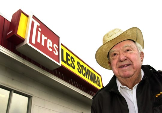 Oregon-based Les Schwab tire company looking for a buyer. The family-owned company started by patriarch Les Schwab, a cowboy-hatted icon of Oregon who turned a dilapidated tire shop he bought in 1952 with borrowed money into a regional empire, died Friday, May 18, 2007, at age 89.