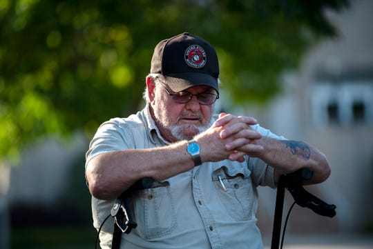 Marine Veteran Samuel Gorton attends a 9/11 remembrance ceremony on Wednesday, Sept. 11, 2019 at McCamly Park in Battle Creek, Mich. The Yellow Ribbon Committee and several other sponsors organized the event to commemorate the first responders who gave their service that day, and for many, their lives.