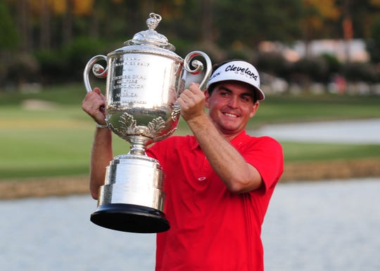 Keegan Bradley celebrates with the Wanamaker Trophy after winning the 2011 PGA Championship at Atlanta Athletic Club.