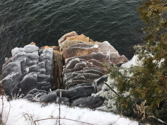 Slippery steps: Ice coats a ledge-rock formation at Lake Champlain in South Burlington's Red Rocks Park on Dec. 22, 2019.