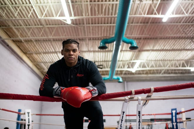Jamar Talley inside the ring at Champs Boxing Gym in Delran, N.J. Thurdsay, Dec. 19, 2019. The 19-year-old heavyweight and Camden native finished second at the recent Olympic Trials in Lake Charles, Louisiana,Êearlier this month, keeping the fighter eligible for a spot on the United States Boxing Team for this summerÕs Olympic Games in Tokyo.