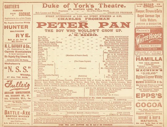 "James M. Barrie's stage play ""Peter Pan, or The Boy Who Wouldn't Grow Up"" had its first performance on December 27, 1904."