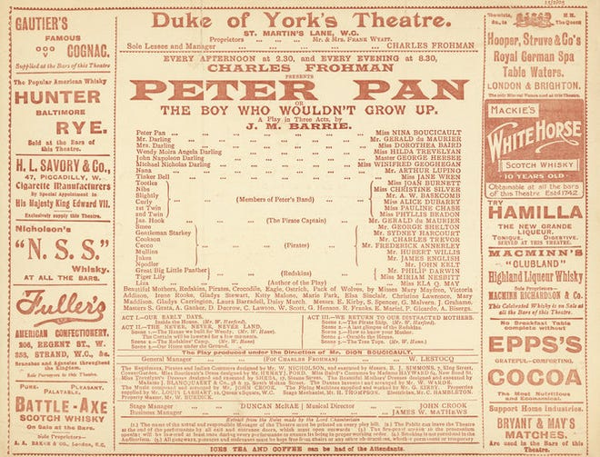 """James M. Barrie's stage play """"Peter Pan, or The Boy Who Wouldn't Grow Up"""" had its first performance on December 27, 1904."""