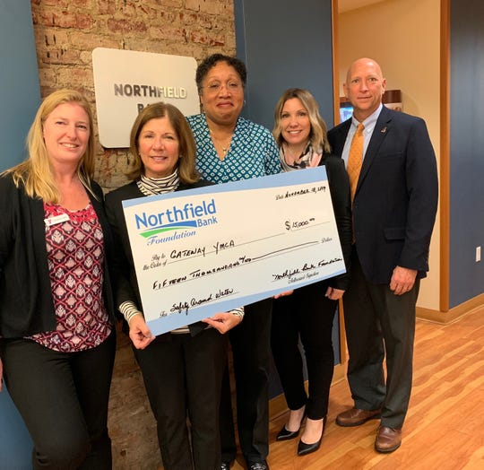 (Left to right) Shannon Frank, Rahway branch acting executive director; Diane Senerchia, executive director, Northfield Bank Foundation; Krystal R. Canady, CEO; Melynda A. Mileski, EVP/COO and Rodger D. Koerber, The Gateway Family YMCA.