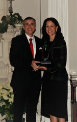 Paul Gionfriddo, president and CEO of Mental Health America, presentedthe Mental Health Association in New Jersey's Golden Bell Leadership Award to Jennifer G. Velez, executive vice president, Community and Behavioral Health, RWJBarnabas Health.