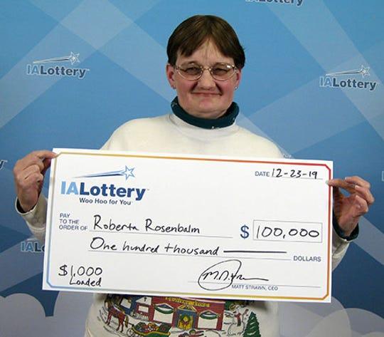 Roberta Rosenbalm, of Ankeny, claimed a $100,000 Iowa Lottery prize