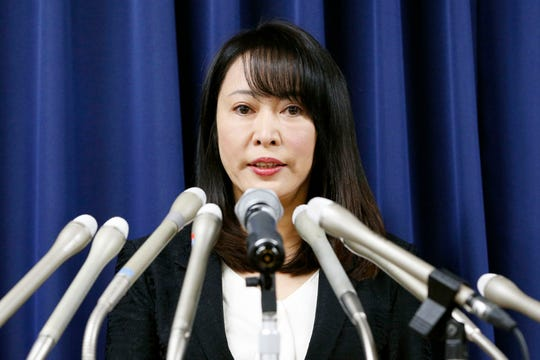 Japan's Minister of Justice Masako Mori speaks at a press conference on the execution of a convict Thursday in Tokyo.