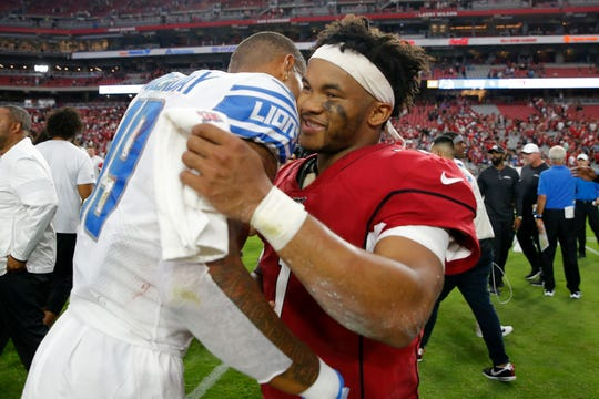 Cardinals quarterback Kyler Murray, right, greets Lions wide receiver Kenny Golladay after a 27-27 tie earlier this year in Glendale, Ariz.