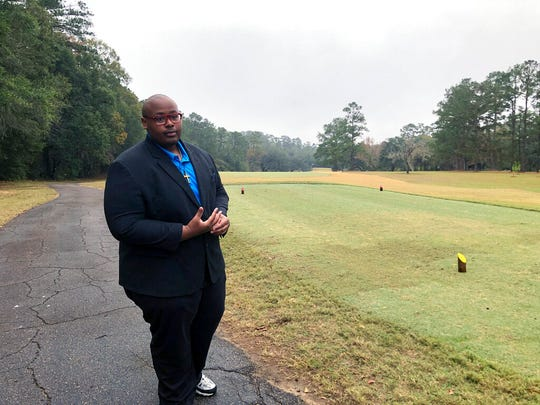 Delaitre Hollinger, the immediate past president of the Tallahassee branch of the NAACP,  visits the Capital City Country Club in Tallahassee, Fla., on Dec. 17, 2019. Hollinger says the slaves buried at the country club deserve to have their dignity restored.