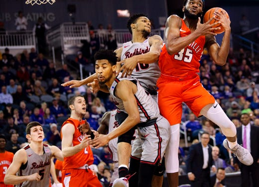 Evansville's John Hall (35) pulls down a rebound against Illinois State at the Ford Center Saturday afternoon, Jan. 19, 2019. (Shot 1/19/19)