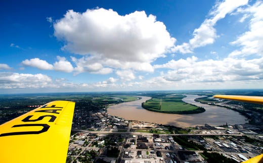 View of the bend in the Ohio river from the World War II era North American AT-6 Texan named Spanish Lady Thursday, June 20, 2019.