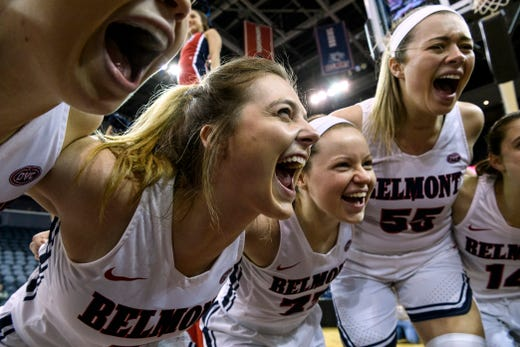 Belmont's Maura Muensterman (31), an Evansville native, and her teammates huddle together before the start of the Ohio Valley Conference women's basketball championship against the University of Tennessee-Martin Skyhawks at Ford Center in Evansville, Ind., Saturday, March 9, 2019. The Bruins secured their fourth consecutive OVC championship title by defeating the Skyhawks 59-53.