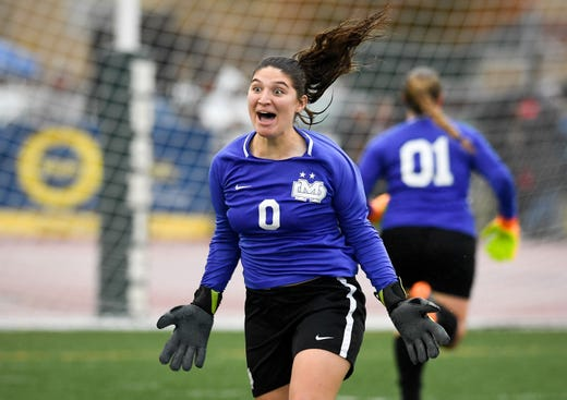 Mater Dei's Mia Venturini (0) reacts after deflecting a penalty kick as the Mater Dei Wildcats play the South Dearborn Knights in the IHSAA soccer semi-state Saturday afternoon at Bundrant Stadium, October 26, 2019.