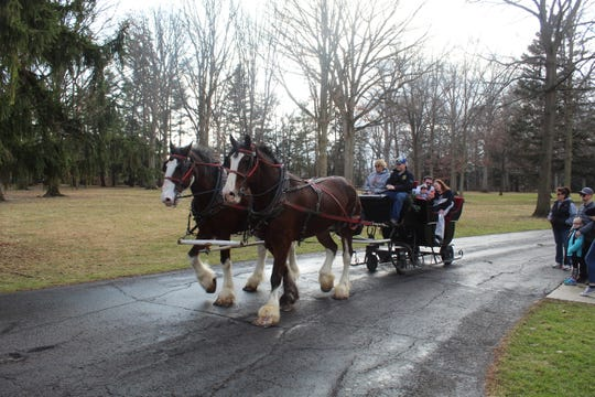 Horse-drawn sleigh rides were held Thursday at Spiegel Grove at the Rutherford B. Hayes Presidential Library and Museum. The Hayes sleigh rides will continue every day from 1 to 4 p.m. through Dec.31. The ridescost $3 per rider ages 3 and older