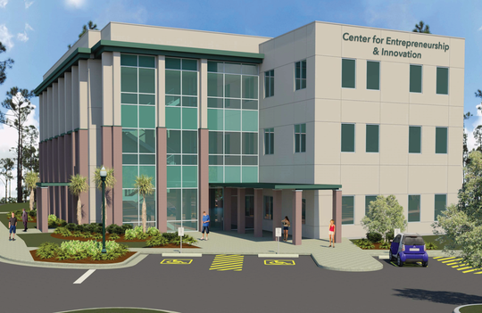 Although groundbreaking details have yet to be announced, construction is set to begin in 2020 for Center for Entrepreneurship & Innovation. This three-story, 27,000-square-foot building will be home to the Small Business Development Center, the Regional Economic Research Institute and the School of Entrepreneurship.