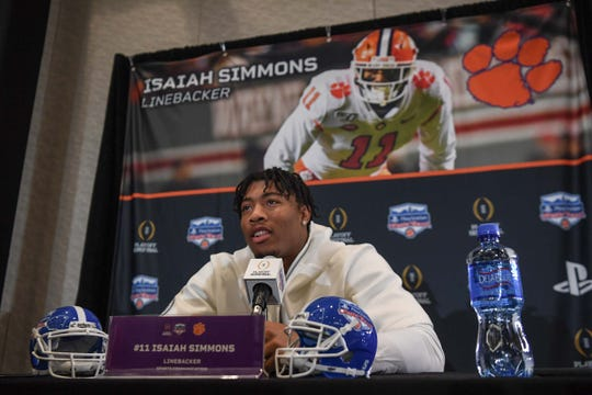 Clemson safety Isaiah Simmons fields a question in the Camelback Inn Arizona Ballroom during the PlayStation Fiesta Bowl Media Day with Clemson in Scottsdale, Arizona Thursday December 26, 2019.