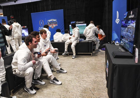 Clemson football players compete with PlayStation video games during the PlayStation Fiesta Bowl Media Day with Clemson in Scottsdale, Arizona Thursday December 26, 2019.