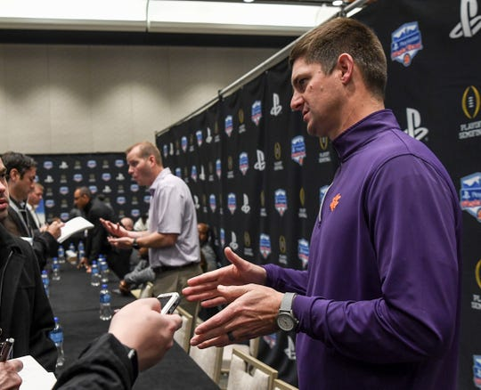 Clemson wide receiver coach Jeff Scott talks with media during the PlayStation Fiesta Bowl Media Day with Clemson in Scottsdale, Arizona Thursday December 26, 2019.