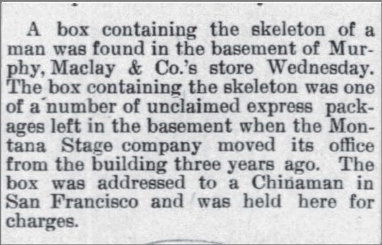 A news brief published in the Great Falls Tribune on Aug. 5, 1892 about bones that were discovered in the basement of the Bach Cory building.