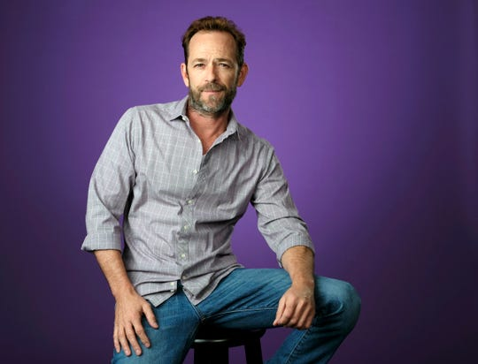 Luke Perry poses for a portrait during the 2018 Television Critics Association Summer Press Tour in Beverly Hills.
