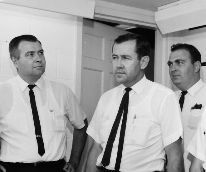 From left, Bill Newman, Maurice Galloway and Malcolm Neel toured city hall on Sept. 30, 1965, when they were running as a slate for Henderson City Commission with Galloway as the mayoral candidate. By the end of 1969 they had been joined on the city commission by George Chaney and Jackie Bentley.