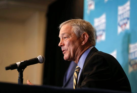 Iowa head football coach Kirk Ferentz speaks to members of the media about the 2019 Holiday Bowl during a press conference on Thursday, Dec. 26, 2019, in San Diego, Calif.