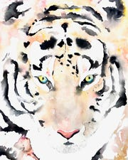 A watercolor painting of a tiger by Michelle Detering. The piece will be featured in the January 2020 issue of British Vogue.